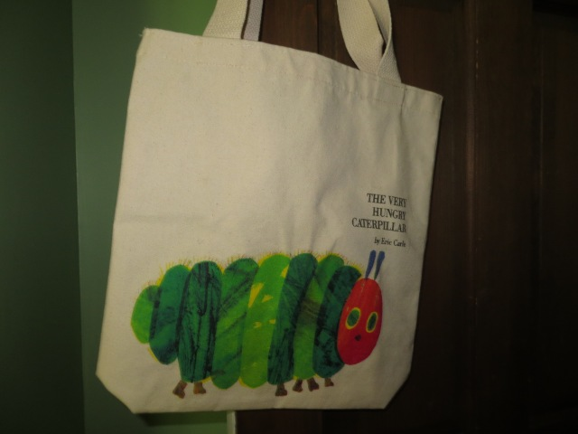 The Very Hungry Caterpillar tote bag is also from Newbury Comics. I got it for around $19. Very happy with this because I can see me using it as a future elementary school teacher.