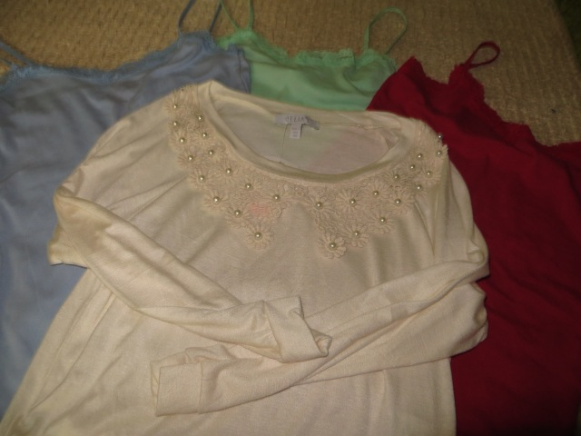 Got these at Delia's. Each tank-top was around $5 and the shirt was around $15.