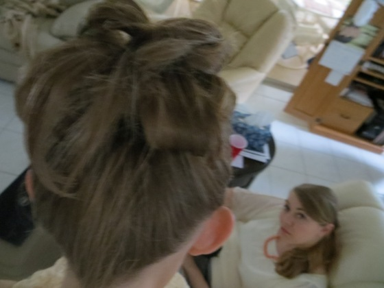 Hairstyle (My sister in the background)